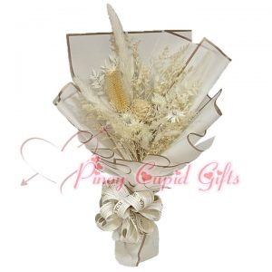 Everlasting Dried White Bouquet 03