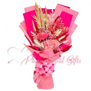 Everlasting Dried Pink Bouquet 08
