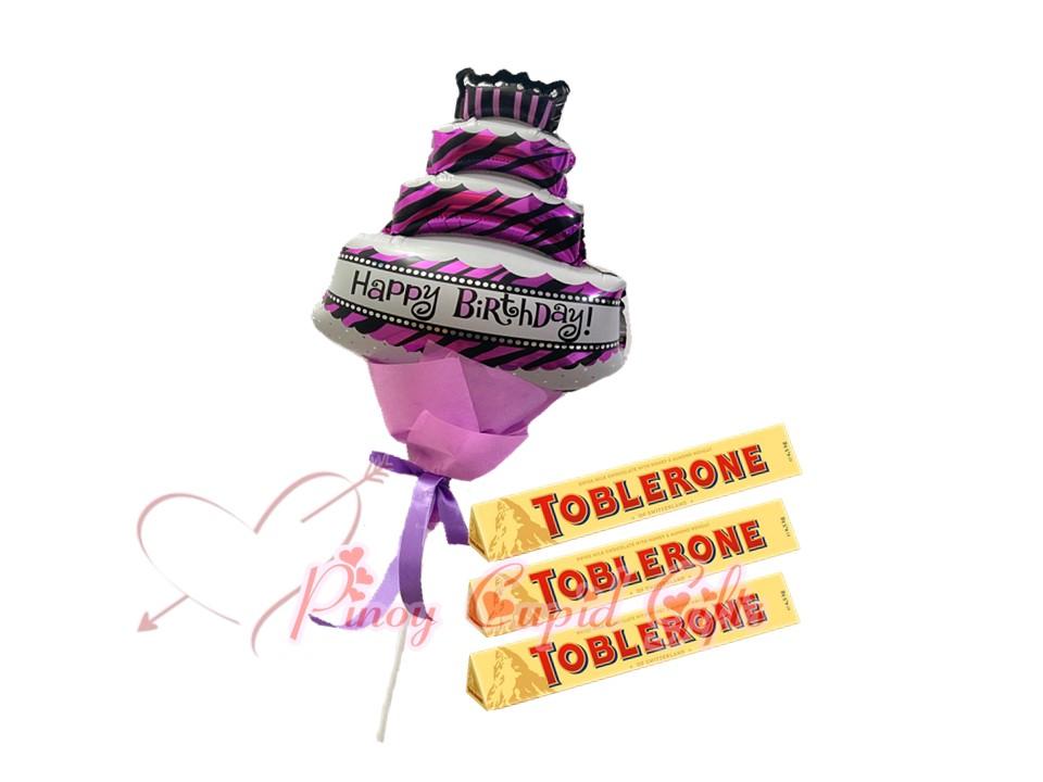 3x100g Toblerone Choco + HBD Balloons