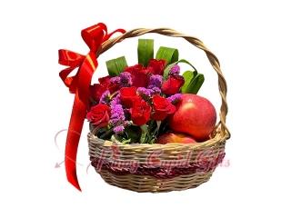 Basket of flowers + 3 apples