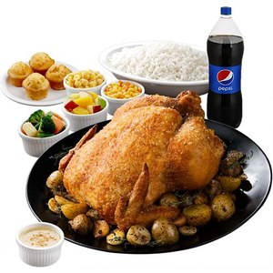 Roast Garlic Chicken with 4 sides and rice
