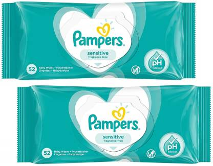 Sensitive Fragrance-Free Baby Wipes 52s x2