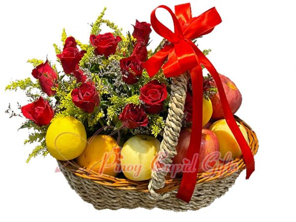 2 dozen red roses and fruits (3 apples, 3 oranges, 3 pears, 2 lemons) in a basket