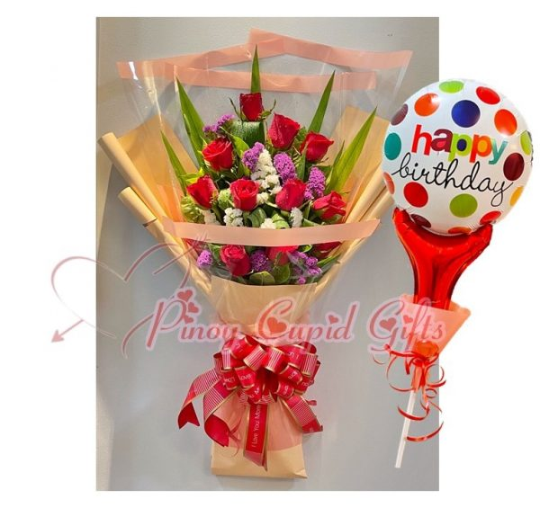 1 Dozen Roses + Balloons (SALE!)