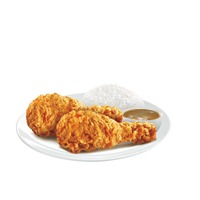 2 pcs tender crunchy fried chicken with rice