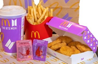 BTS Meal Solo: 10-piece Chicken McNuggets, Medium Fries and Coke (cajun, sweet chili dips)
