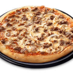 All-Beef Pizza topped with delicious burger crumbles, onions, and mushroom
