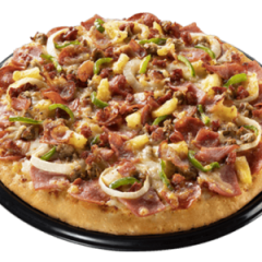 Best seller: topped with bacon, pepperoni, ham, sausage, Spanish chorizo, burger crumbles, cheese, and veggies.