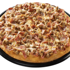 Greenwich pizza loaded with premium cuts of meats and topped with different cheeses