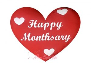 RED HAPPY MONTHSARY PILLOW