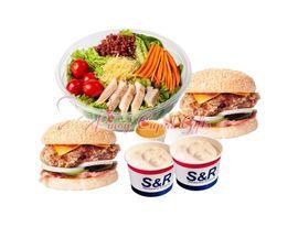 2 Chicken Sandwich, Caesar Salad, 2 Clam Chowder
