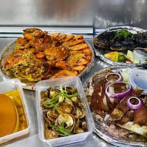 crispy pata bilao, grilled tilapia, leche flan, Seafood mixed crab/shrimp bilao