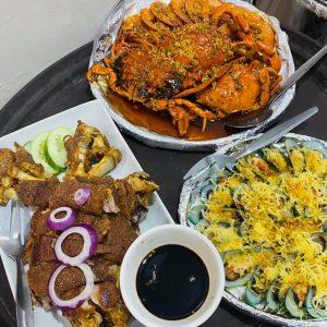 mixed crab/shrimp bilao, baked tahong/ mussels, krispy pata