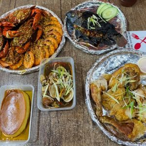 Mixed Crab/Shrimp, fried Chicken bilao, grilled tilapia and leche flan