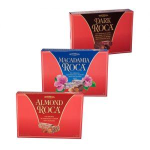 One box Classic Almond Roca, Dark Roca, and Macadamia Roca