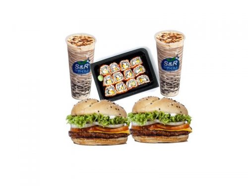 2 Meat-Free Burgers, California Rolls, 2 Wintermelon Boba Milk Tea