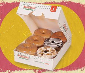 3 Original Glaze Donuts and 3 NEW Holiday Cinnamon Glaze Donuts