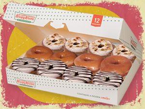 Box of 12 NEW Krispy Kreme Pre-Assorted Holiday Cinnamon Glaze Donuts
