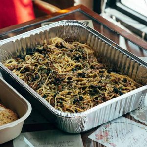 Spaghetti noodles in homemade chorizo sauce