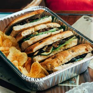 Grilled zucchini, eggplant, and oyster mushrooms sandwich