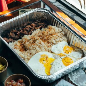 Pork Tocino with rosemary garlic fried rice and eggs
