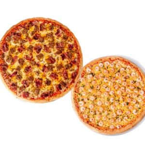 "18"" Cheesy Burger Gourmet Pizza + Garlic & Shrimp Pizza"